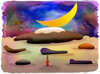 月と石 02432000190| 写真素材・ストックフォト・画像・イラスト素材|アマナイメージズ