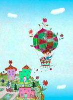 気球と街 02432000209| 写真素材・ストックフォト・画像・イラスト素材|アマナイメージズ