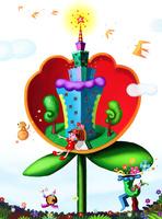 花とビルと少女 02432000259| 写真素材・ストックフォト・画像・イラスト素材|アマナイメージズ