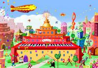 オレンジ色オルガンのビルと街 02432000263| 写真素材・ストックフォト・画像・イラスト素材|アマナイメージズ
