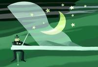 ピアノと月とクマ 02432000296| 写真素材・ストックフォト・画像・イラスト素材|アマナイメージズ