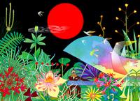 赤い月とピアノ 02432000361| 写真素材・ストックフォト・画像・イラスト素材|アマナイメージズ