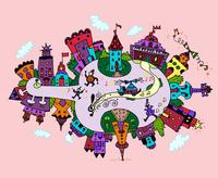 バイオリンの形の街 02432000364| 写真素材・ストックフォト・画像・イラスト素材|アマナイメージズ