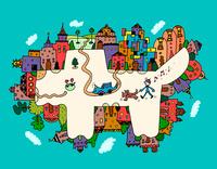 犬の形の街 02432000366| 写真素材・ストックフォト・画像・イラスト素材|アマナイメージズ