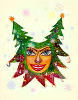 クリスマスと女性の顔 02432000393| 写真素材・ストックフォト・画像・イラスト素材|アマナイメージズ