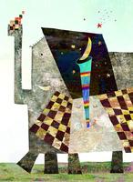 ゾウ親子と月 02432000417| 写真素材・ストックフォト・画像・イラスト素材|アマナイメージズ