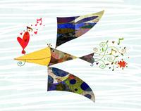 ハートをくわえて飛ぶ鳥 02432000422| 写真素材・ストックフォト・画像・イラスト素材|アマナイメージズ