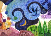 月と空と人と犬 02432000434| 写真素材・ストックフォト・画像・イラスト素材|アマナイメージズ