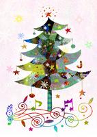 クリスマスツリーと音符 02432000446| 写真素材・ストックフォト・画像・イラスト素材|アマナイメージズ