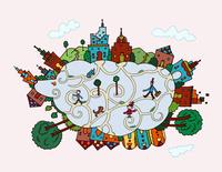 ヒツジの形の街 02432000486| 写真素材・ストックフォト・画像・イラスト素材|アマナイメージズ