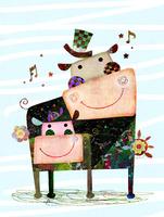 カバ親子と花 02432000487| 写真素材・ストックフォト・画像・イラスト素材|アマナイメージズ