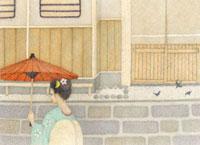 番傘をさす着物の女性 02456000007  写真素材・ストックフォト・画像・イラスト素材 アマナイメージズ