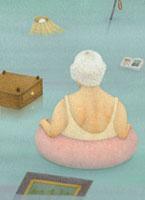 水に浮かぶ女性の老人とがらくた 02456000009  写真素材・ストックフォト・画像・イラスト素材 アマナイメージズ