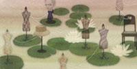 蓮の葉の上に置かれたトルソ 02456000010  写真素材・ストックフォト・画像・イラスト素材 アマナイメージズ