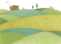 家と自転車がある田園風景 02456000013  写真素材・ストックフォト・画像・イラスト素材 アマナイメージズ