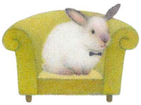 ソファーに座る蝶ネクタイをしたウサギ 02456000026  写真素材・ストックフォト・画像・イラスト素材 アマナイメージズ
