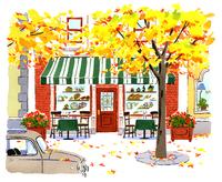 イチョウの木とパン屋と車 02463001147| 写真素材・ストックフォト・画像・イラスト素材|アマナイメージズ