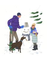 雪だるまを作る子供と男性と犬 02463001197| 写真素材・ストックフォト・画像・イラスト素材|アマナイメージズ