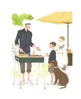 外でバーベキューをする家族 02463001305| 写真素材・ストックフォト・画像・イラスト素材|アマナイメージズ