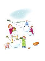 雪だるまを作る家族 02463001360| 写真素材・ストックフォト・画像・イラスト素材|アマナイメージズ