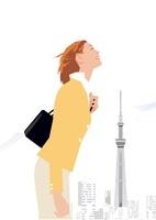 胸を張るビジネス女性とスカイツリー 02526000040  写真素材・ストックフォト・画像・イラスト素材 アマナイメージズ