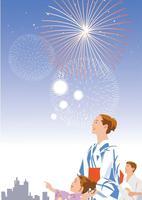 花火を見上げる浴衣姿のファミリー 02526000140  写真素材・ストックフォト・画像・イラスト素材 アマナイメージズ