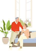 窓辺のソファに座るシニアカップル 02526000143  写真素材・ストックフォト・画像・イラスト素材 アマナイメージズ