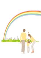 虹を見る家族3人 02526000147  写真素材・ストックフォト・画像・イラスト素材 アマナイメージズ