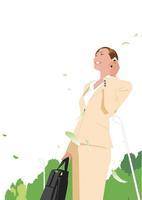 携帯で話すビジネス女性 02526000155| 写真素材・ストックフォト・画像・イラスト素材|アマナイメージズ