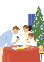 クリスマスにケーキにデコレーションする3人ファミリー 02526000190  写真素材・ストックフォト・画像・イラスト素材 アマナイメージズ