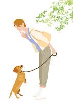 犬の散歩する女性 02526000196  写真素材・ストックフォト・画像・イラスト素材 アマナイメージズ