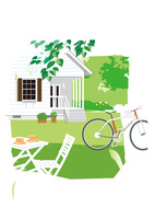 緑の中のガーデンテラスと自転車 02526000200  写真素材・ストックフォト・画像・イラスト素材 アマナイメージズ