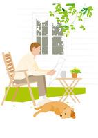 庭で新聞を読む男性 02526000206  写真素材・ストックフォト・画像・イラスト素材 アマナイメージズ