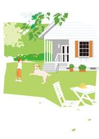 ガーデンで遊ぶ女の子と犬 02526000210  写真素材・ストックフォト・画像・イラスト素材 アマナイメージズ