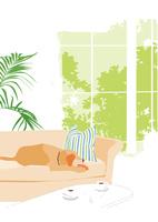 リビングのソファで寝ている犬 02526000211  写真素材・ストックフォト・画像・イラスト素材 アマナイメージズ
