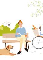 街の公園のベンチで本を読む買い物帰りの女性 02526000213  写真素材・ストックフォト・画像・イラスト素材 アマナイメージズ