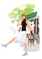 オープウンカフェの前を歩く女性 02526000233  写真素材・ストックフォト・画像・イラスト素材 アマナイメージズ