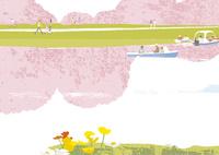 桜と池 02526000249  写真素材・ストックフォト・画像・イラスト素材 アマナイメージズ