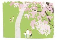 桜と散歩道 02526000251  写真素材・ストックフォト・画像・イラスト素材 アマナイメージズ