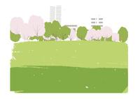 桜と野原 02526000252  写真素材・ストックフォト・画像・イラスト素材 アマナイメージズ