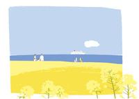 海と菜の花畑 02526000258  写真素材・ストックフォト・画像・イラスト素材 アマナイメージズ