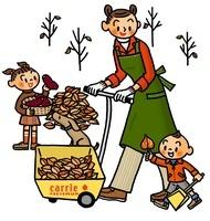 落ち葉を集める親子 02551000028| 写真素材・ストックフォト・画像・イラスト素材|アマナイメージズ