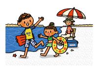 海へ泳ぎに来た子供たちと遠くで見守るお母さん 02551000156| 写真素材・ストックフォト・画像・イラスト素材|アマナイメージズ