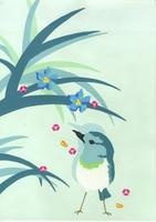 すずめと植物と花 02632000002| 写真素材・ストックフォト・画像・イラスト素材|アマナイメージズ