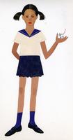 手に猫を乗せたセーラー服の女の子 02655000077| 写真素材・ストックフォト・画像・イラスト素材|アマナイメージズ