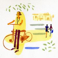 自転車に乗る女性 02665000005  写真素材・ストックフォト・画像・イラスト素材 アマナイメージズ