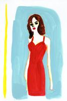 赤いドレスの女性 02665000027  写真素材・ストックフォト・画像・イラスト素材 アマナイメージズ