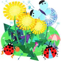 タンポポと蝶とテントウムシ 02671000173| 写真素材・ストックフォト・画像・イラスト素材|アマナイメージズ