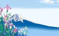 かきつばたと富士 02694000217| 写真素材・ストックフォト・画像・イラスト素材|アマナイメージズ