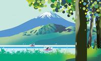 富士山とスワンボート 02694000220| 写真素材・ストックフォト・画像・イラスト素材|アマナイメージズ